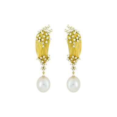 Pearl and Diamond Plisse Earrings