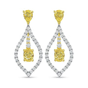 22K Yellow Gold & Platinum Drop Earrings