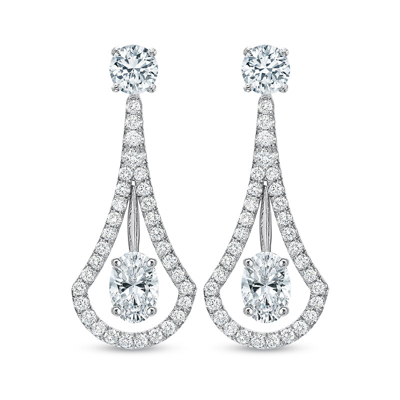 18K White Gold Drop Earrings