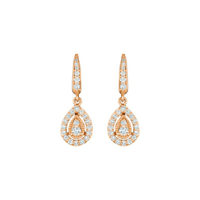 18K Rose Gold Pear Earrings