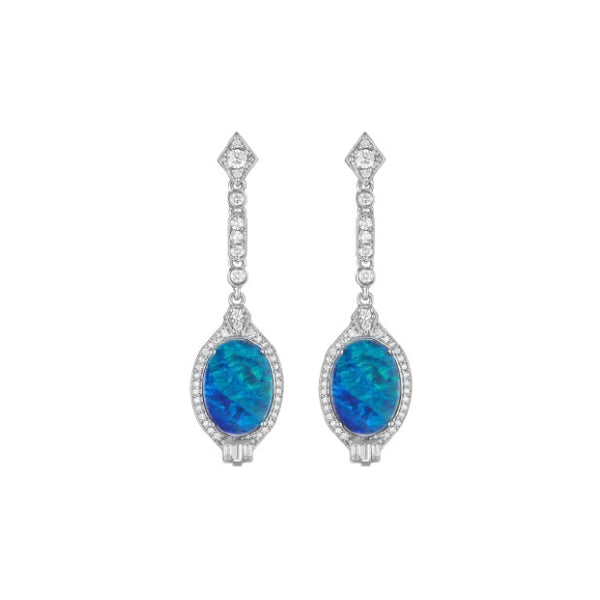 Long Deco Earrings with Oval Opal & Diamond