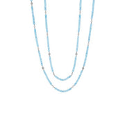 18K White Gold Aqua Bead Necklace