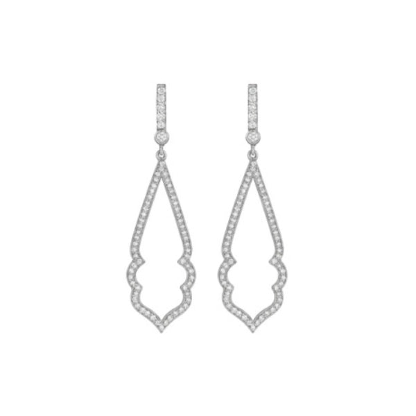 18K White Gold Narrow Diamond Arabesque Earrings