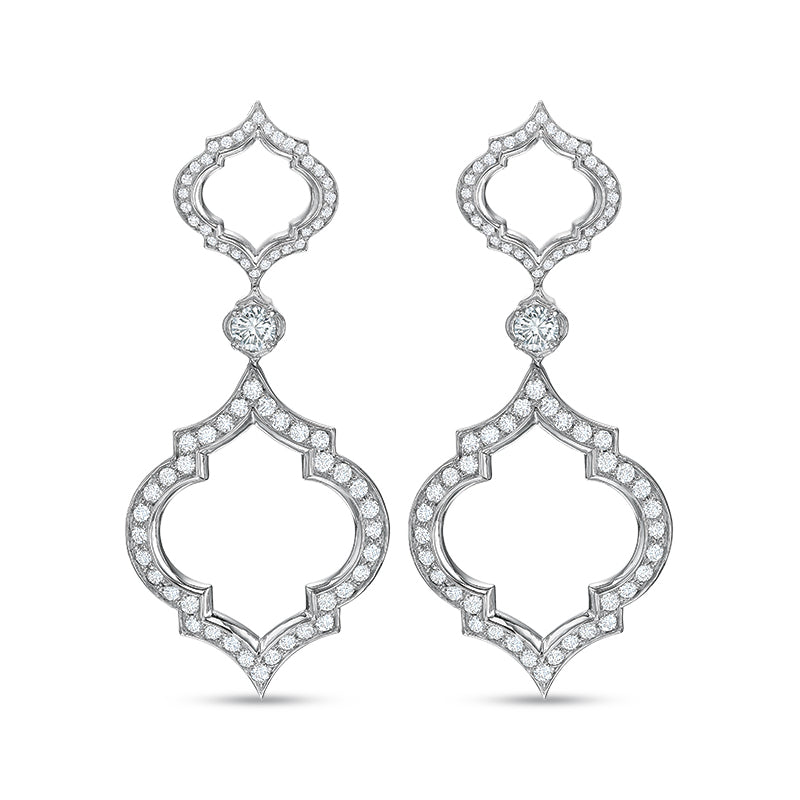 18K White Gold Double Clover Drop Earrings