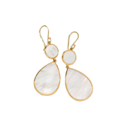 White Mother of Pearl Rock Candy Double Drop Earrings