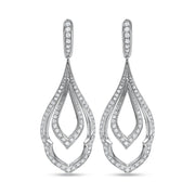 18K White Gold Chevron Drop Earrings