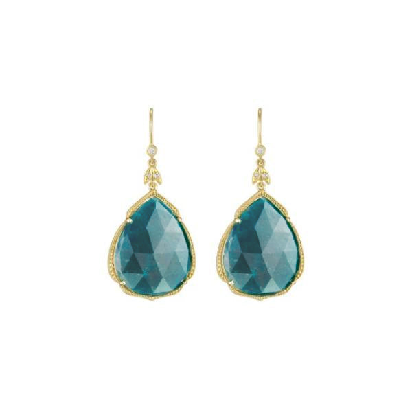 18K Yellow Gold Pear Turquoise Leaf Earrings