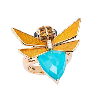 JITTERBUG JITTERBUG TURQUOISE RING Yellow Gold