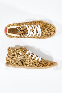 Human Premium BRAYDEN Cheetah Leather Sneakers || TAN