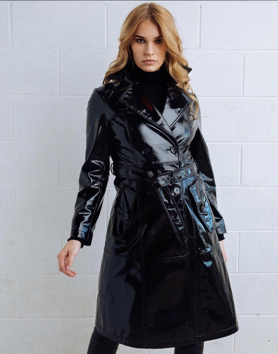 DEA Polly Patent Leather Trench Coat