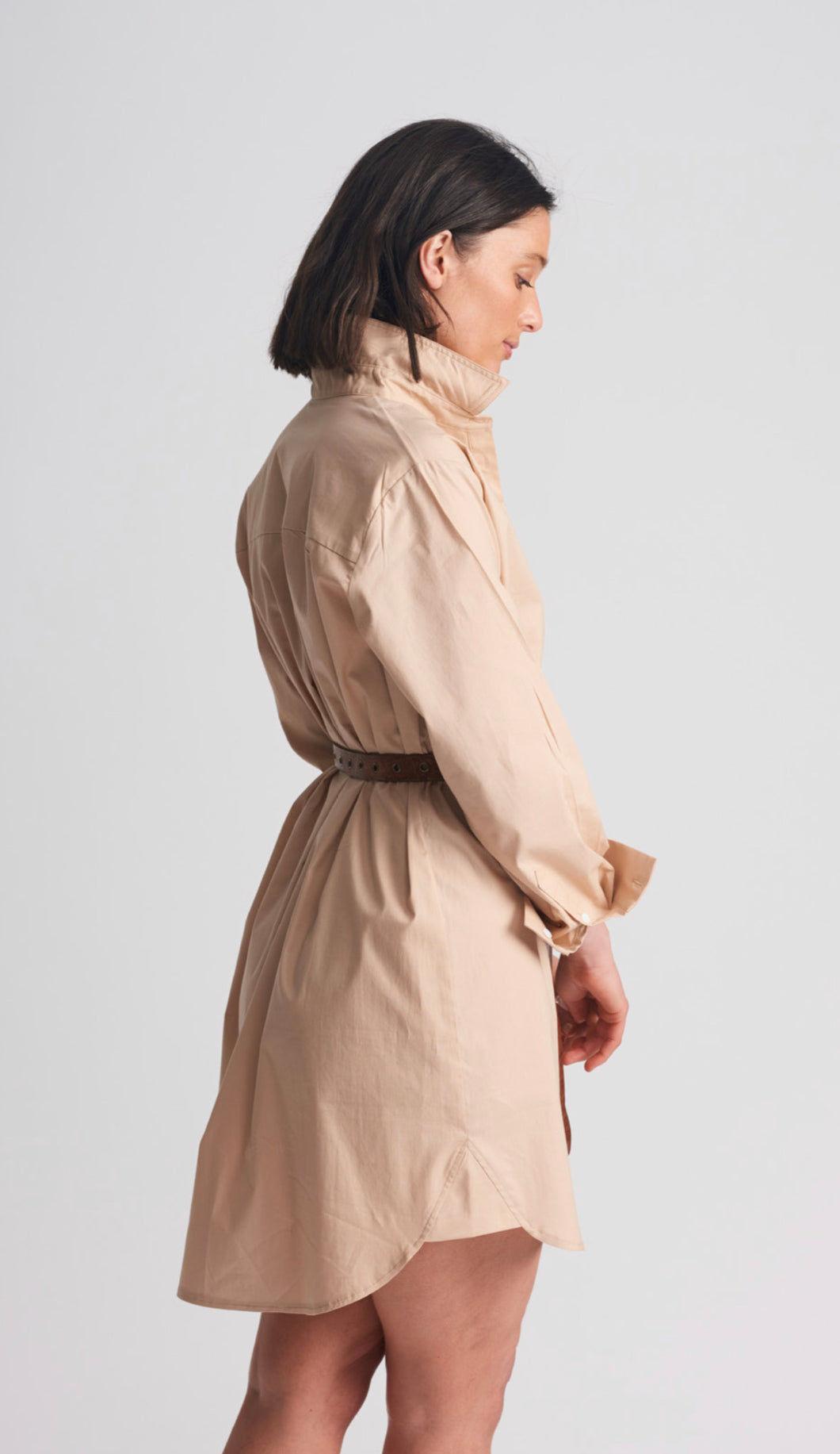 SHIRTY Stretch Cotton ShirtDress || SAND