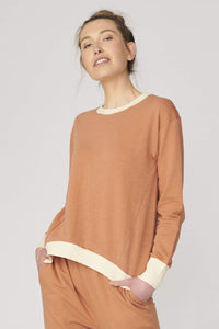 Lulu Organic Essentials Brooklyn Sweater || NUTMEG/CREAM TRIM