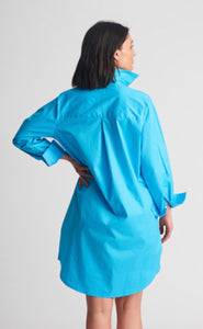 SHIRTY Stretch Cotton ShirtDress || TURQUOISE