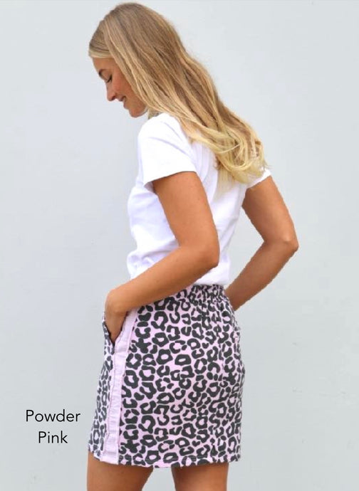 EST 1971 Frayed Stripe Skirty || Powder Pink Leopard