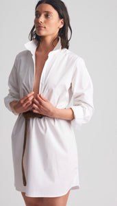 SHIRTY Stretch Cotton ShirtDress || WHITE