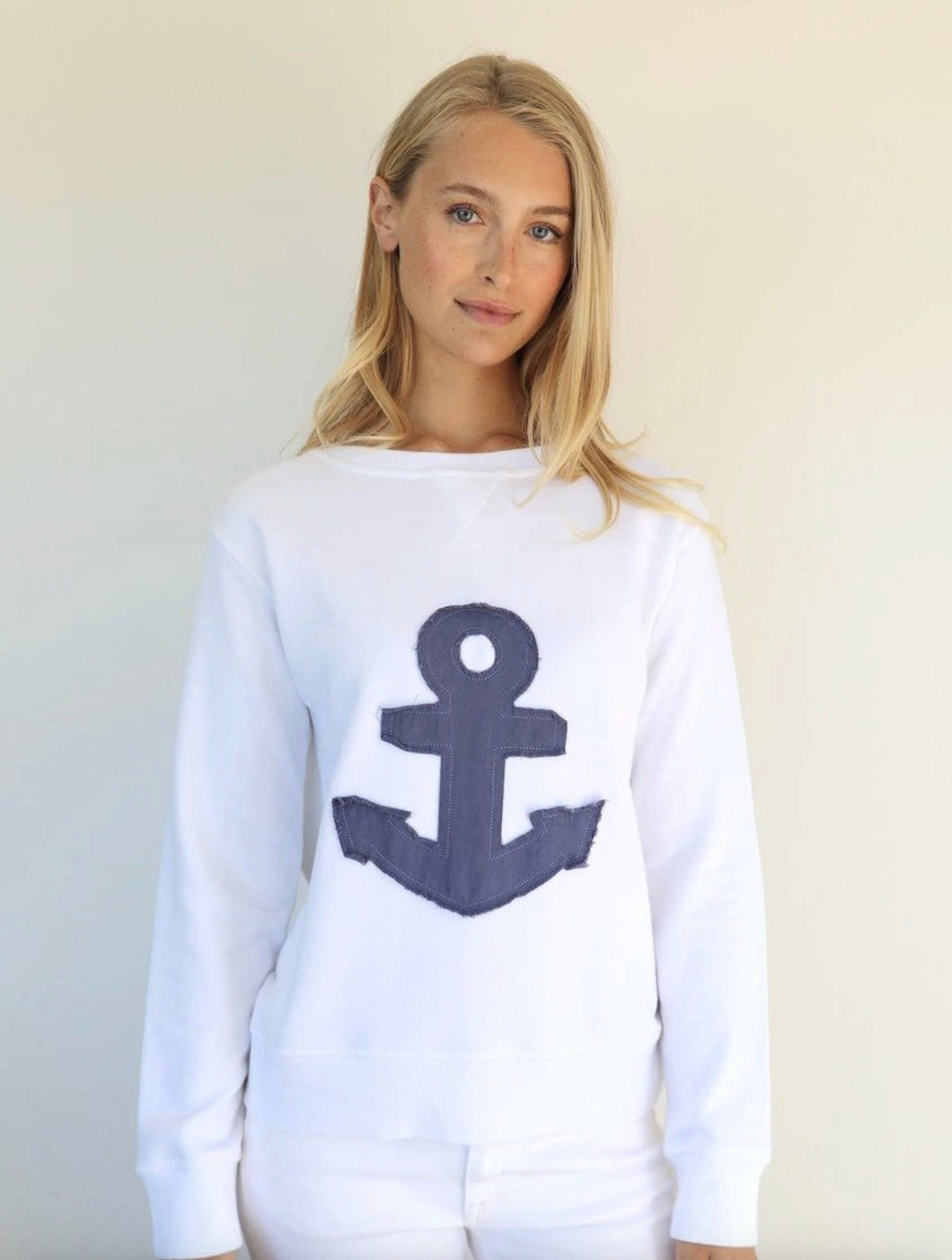 EST 1971  Zipside Frayed Anchor Cotton Windy || WHITE