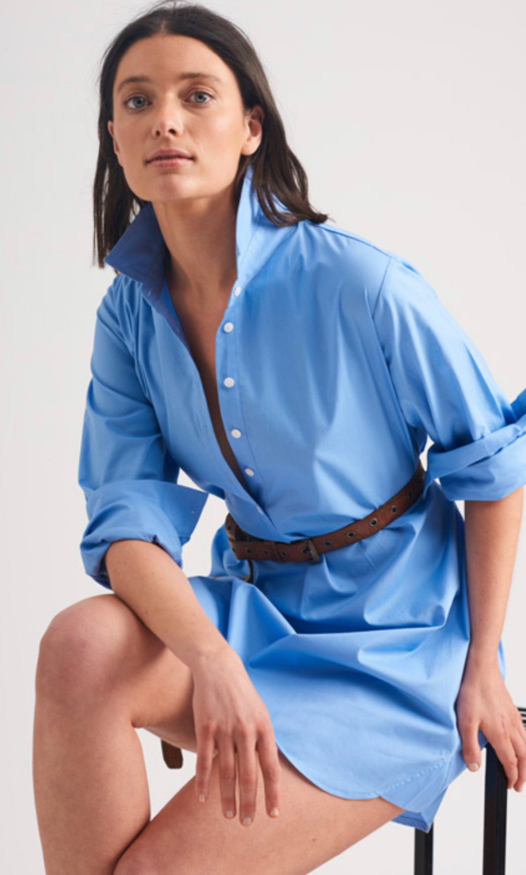 SHIRTY Stretch Cotton ShirtDress || BANKERS BLUE