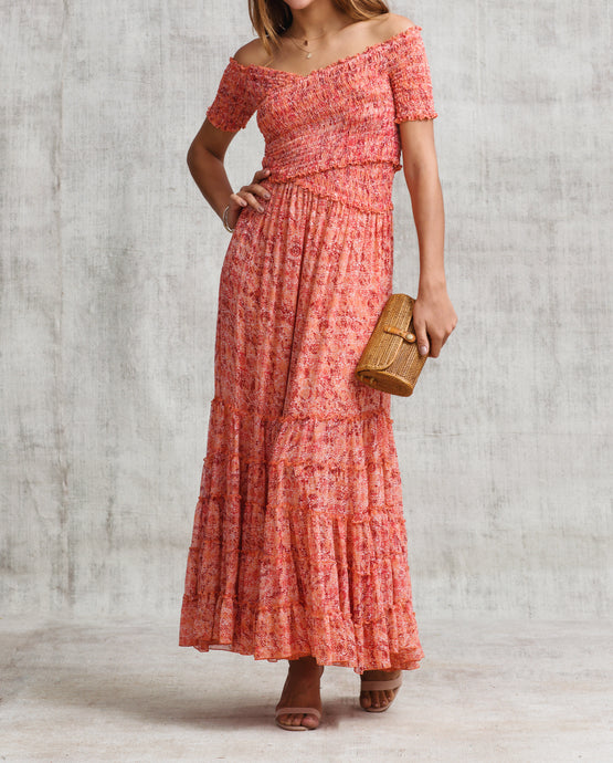 Poupette St Barth SOLEDAD Silk Chiffon Dress in Pink Sahara