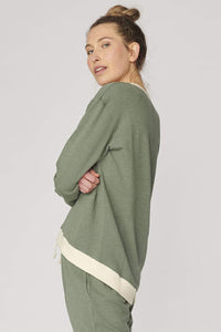 Lulu Organic Essentials Brooklyn Sweater || KHAKI/CREAM TRIM