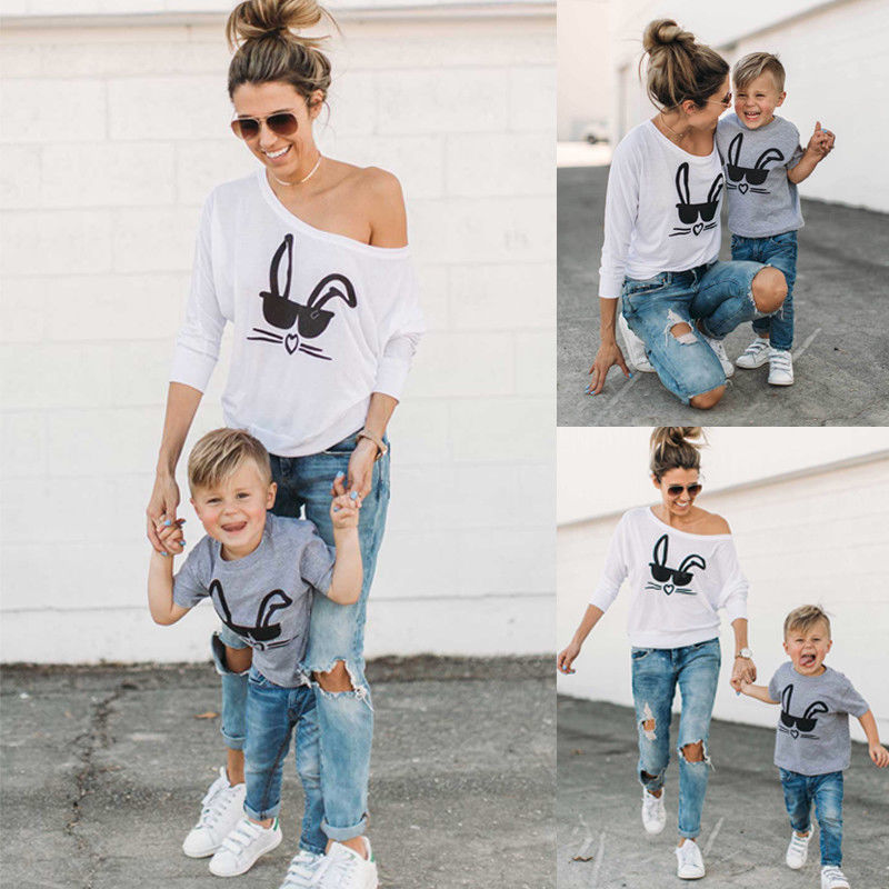 Mother Son Cartoon Print Sweaters
