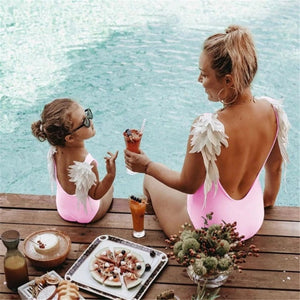 Mother daughter angel wings swimsuit