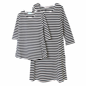 Mother And Daughter Cotton Striped Dress Casual