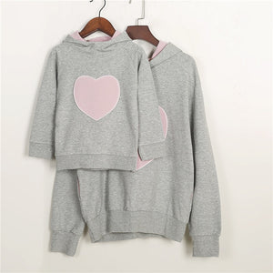 Love Heart Print Mother Daughter Sweater