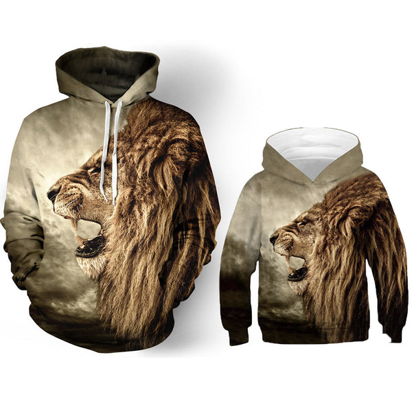 Cool Father/Mother Son Matching Lion Hoodies