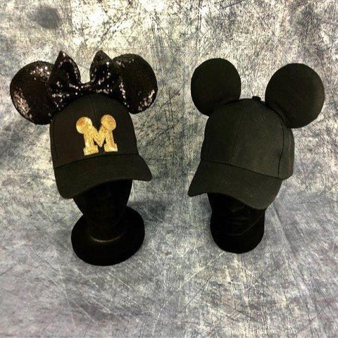 All Black Mickey/Minnie Mouse Inspired Hat