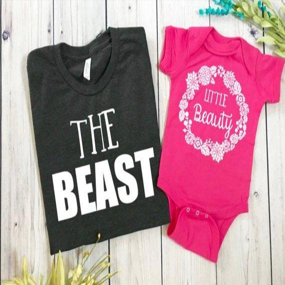 Daddy Daughter matching t shirts, beauty and the beast(SET)