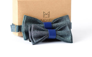 Bow Tie Set Blue Denim Perfect Gift - Father And Son