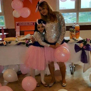 c39909817a Pink TuTu Tulle Skirt And Silver Sequin Top Mother Daughter Matching Dresses
