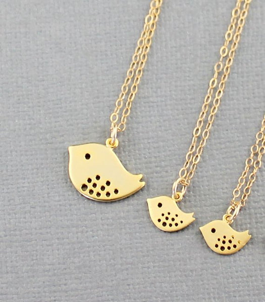 Mother & Daughter(s) Necklaces Gold or Silver Bird