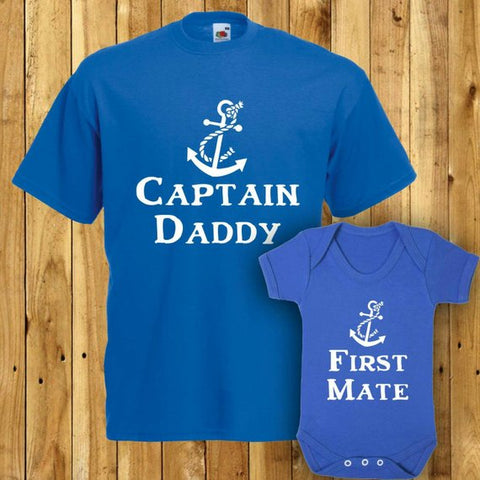 SET OF 2 Captain Daddy Tee - Matching Father Daughter Tshirts