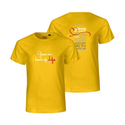 Give an hour of Life Charity FairTrade T-Shirt Kids Yellow