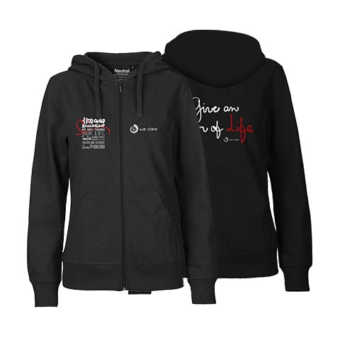 Give an hour of Life Charity FairTrade Zipped Hoodie Women Black