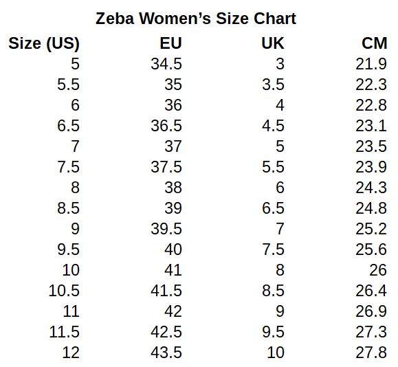 Zeba Shoes Womens Size Chart
