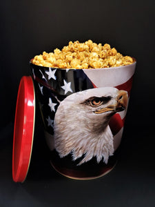 MAGACORN GOURMET POPCORN, Americana Tin, 3.5 Gallons,CHEESE & SWEET FLAVORS