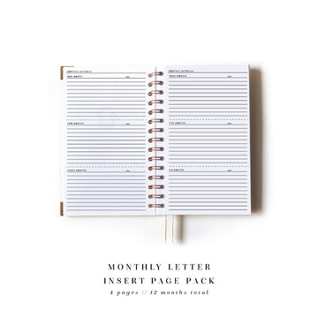 Monthly Letter Add-On Page Pack for The Everyday Mother - The Everyday Mother