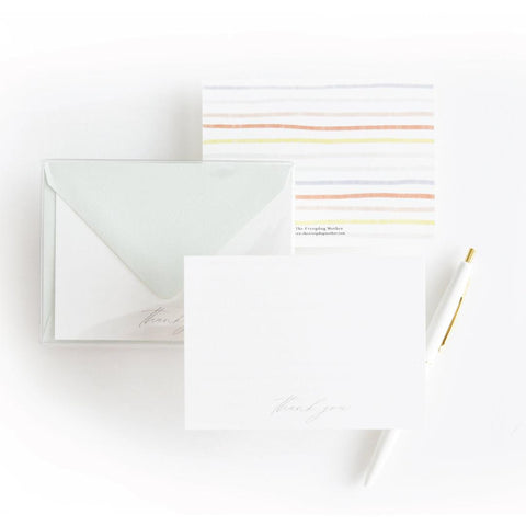 Painted Stripes Thank You Note Card Set