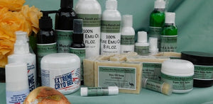 Emu oil products from 3 Feathers Emu Ranch