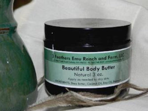 Body butter with emu oil from 3 Feathers Emu Ranch