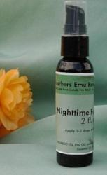 2 oz bottle moisturizing night time face serum made with emu oil from 3 Feathers Emu Ranch