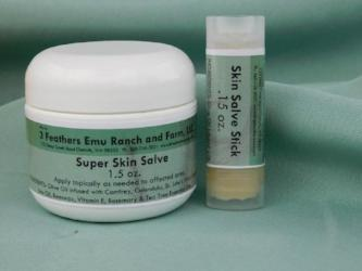 Super skin salve made with emu oil from 3 Feathers Emu Ranch