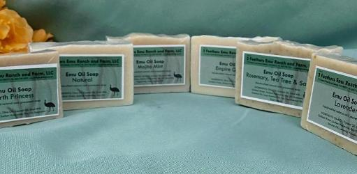 gentle handmade soap with emu oil and goats milk from 3 Feathers Emu Ranch