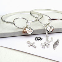 Stunning Silver Personal Loop Charm Initial Bangle