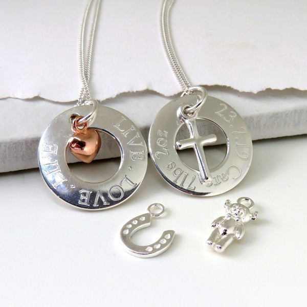 Stunning Charm Silver Eternity Necklace
