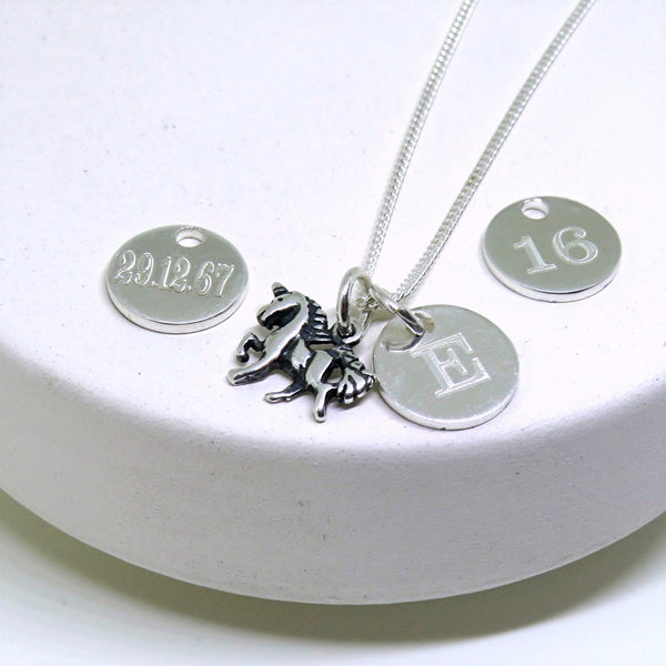 Magical Unicorn Charm Necklace With Personal Date and Initial
