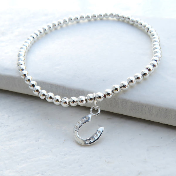 Beautiful Silver Ball Bracelet Horseshoe