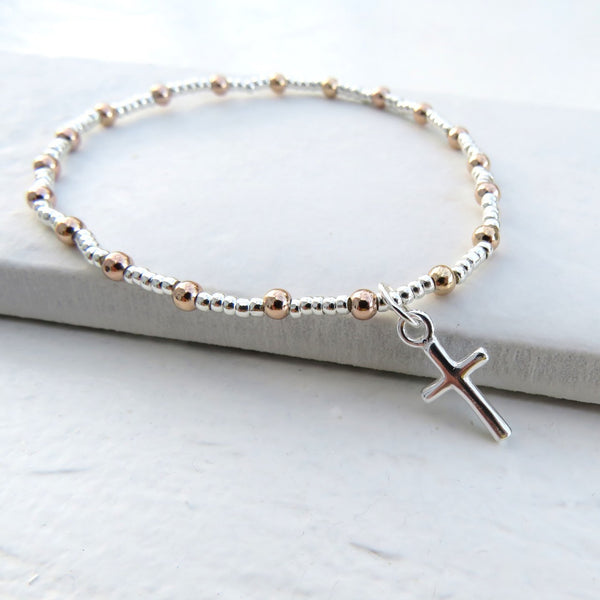 Stunning Cross Duo Ball Bracelet